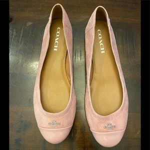 Pink suede Coach flats